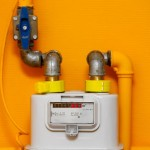22108868 - gas meter on orange wall